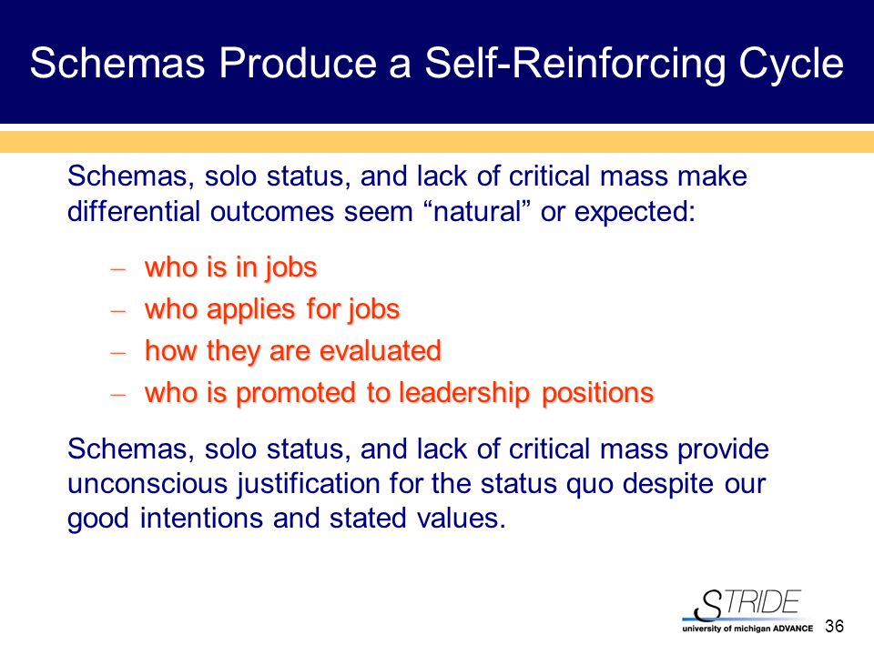 36 Schemas Produce a Self-Reinforcing Cycle Schemas, solo status, and lack of critical mass make differential outcomes seem natural or expected: – who is in jobs – who applies for jobs – how they are evaluated – who is promoted to leadership positions Schemas, solo status, and lack of critical mass provide unconscious justification for the status quo despite our good intentions and stated values.