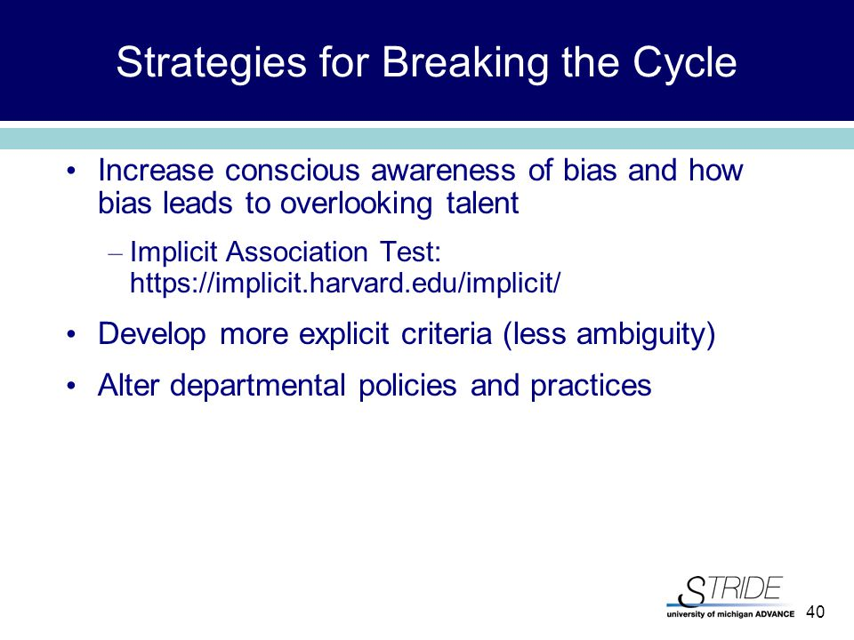 40 Strategies for Breaking the Cycle Increase conscious awareness of bias and how bias leads to overlooking talent – Implicit Association Test: https://implicit.harvard.edu/implicit/ Develop more explicit criteria (less ambiguity) Alter departmental policies and practices