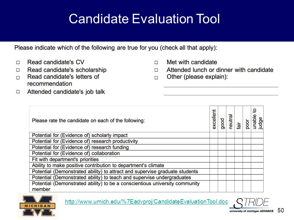 50 Candidate Evaluation Tool http://www.umich.edu/%7Eadvproj/CandidateEvaluationTool.doc