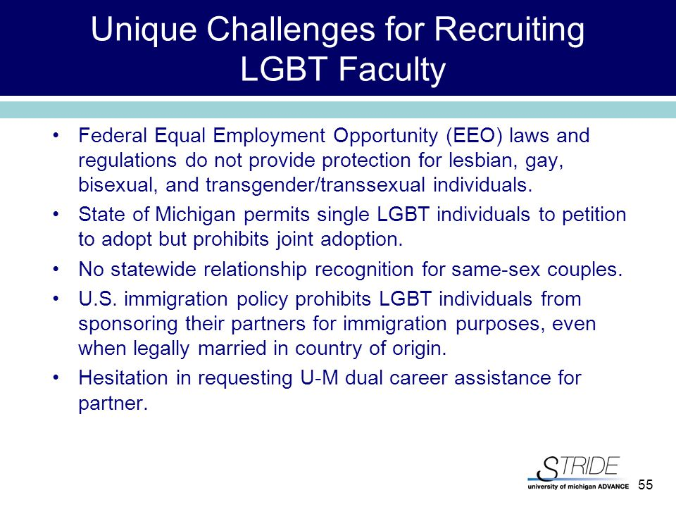 55 Unique Challenges for Recruiting LGBT Faculty Federal Equal Employment Opportunity (EEO) laws and regulations do not provide protection for lesbian, gay, bisexual, and transgender/transsexual individuals.