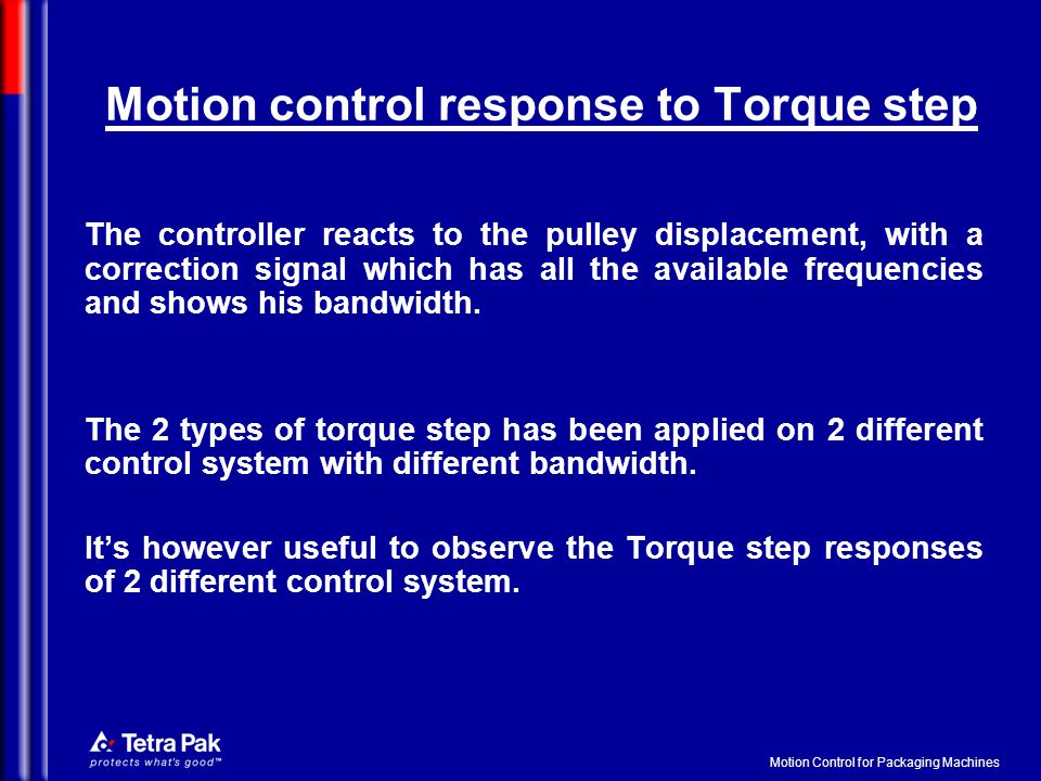 Motion Control for Packaging Machines Motion control response to Torque step The controller reacts to the pulley displacement, with a correction signal which has all the available frequencies and shows his bandwidth.