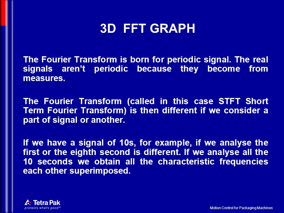 Motion Control for Packaging Machines 3D FFT GRAPH The Fourier Transform is born for periodic signal. The real signals aren't periodic because they be