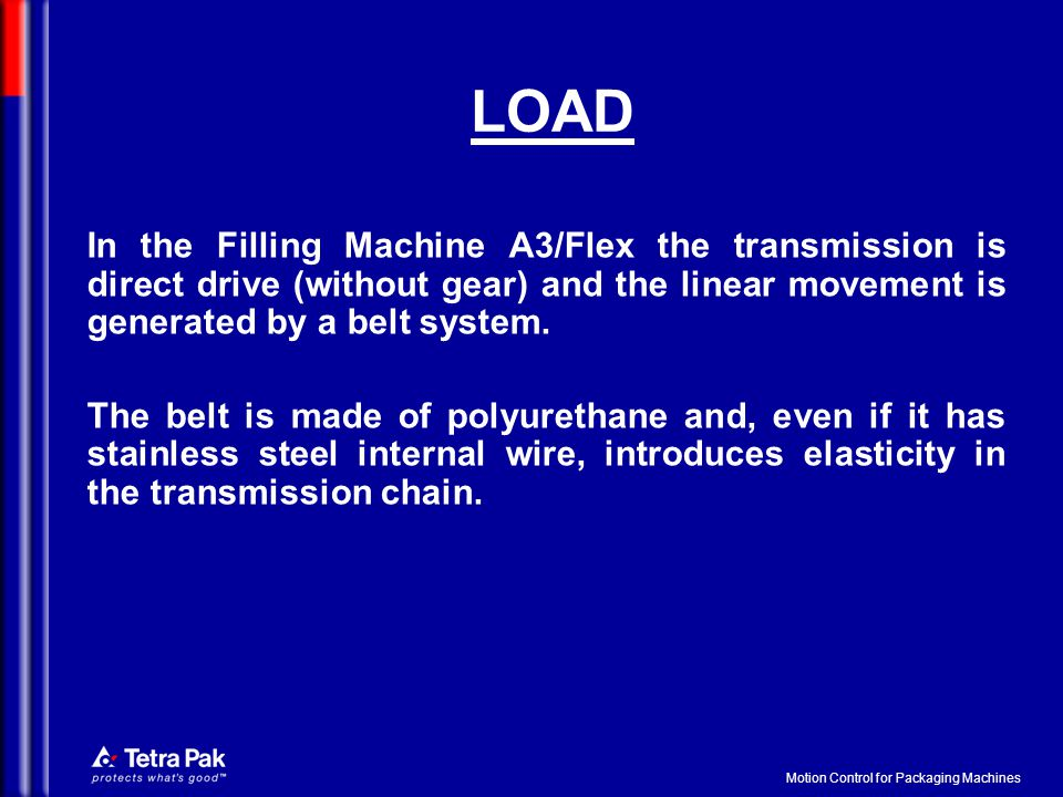 Motion Control for Packaging Machines LOAD In the Filling Machine A3/Flex the transmission is direct drive (without gear) and the linear movement is g
