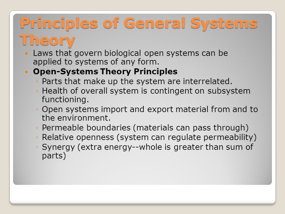 Principles of General Systems Theory Laws that govern biological open systems can be applied to systems of any form.