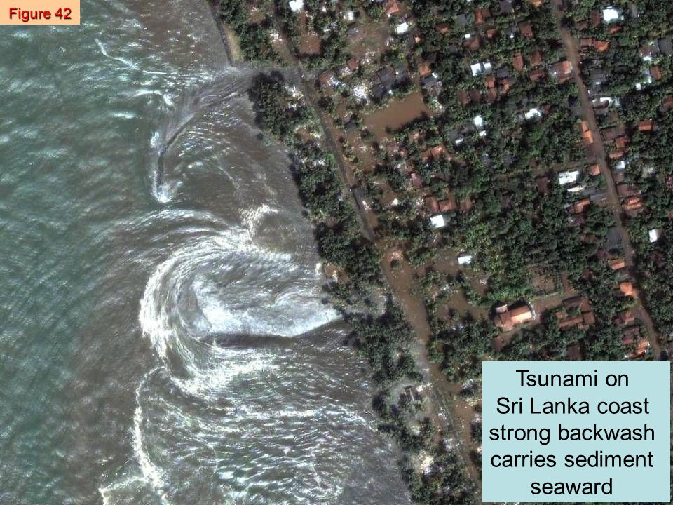 Tsunami on Sri Lanka coast strong backwash carries sediment seaward Figure 42