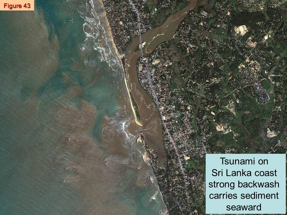 Tsunami on Sri Lanka coast strong backwash carries sediment seaward Figure 43