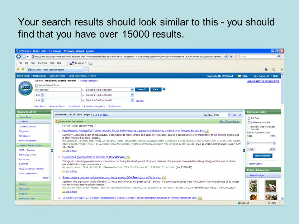 Your search results should look similar to this - you should find that you have over 15000 results.