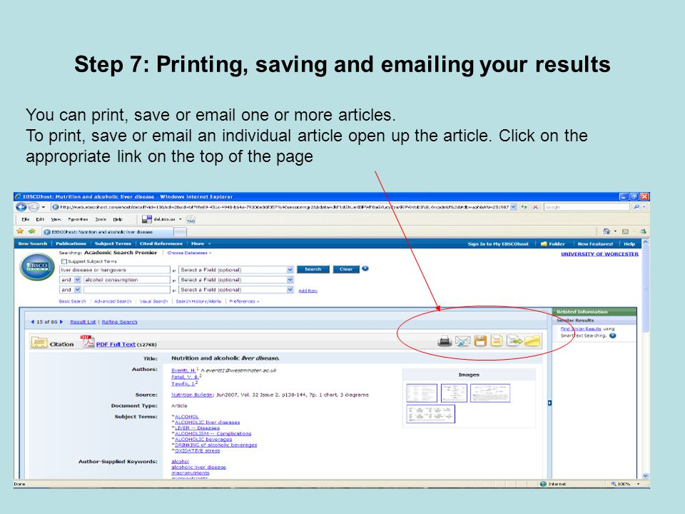 Step 7: Printing, saving and emailing your results You can print, save or email one or more articles.
