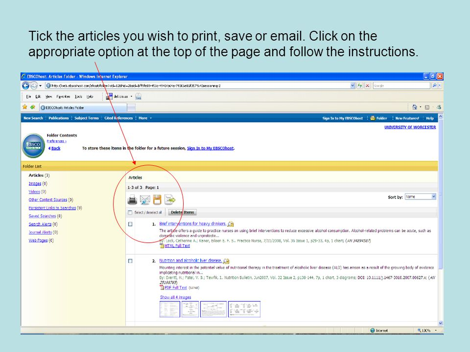 Tick the articles you wish to print, save or email.