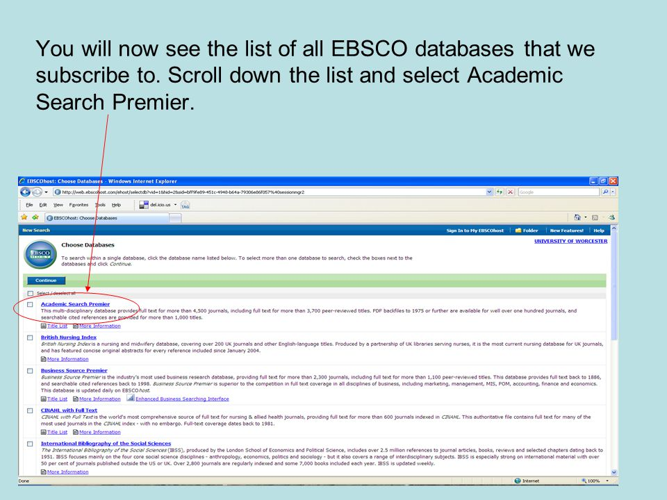 You will now see the list of all EBSCO databases that we subscribe to.