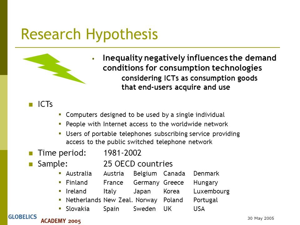 30 May 2005 Research Hypothesis Inequality negatively influences the demand conditions for consumption technologies considering ICTs as consumption goods that end-users acquire and use ICTs  Computers designed to be used by a single individual  People with Internet access to the worldwide network  Users of portable telephones subscribing service providing access to the public switched telephone network Time period:1981-2002 Sample:25 OECD countries  AustraliaAustriaBelgiumCanadaDenmark  Finland France GermanyGreeceHungary  Ireland ItalyJapan KoreaLuxembourg  NetherlandsNew Zeal.