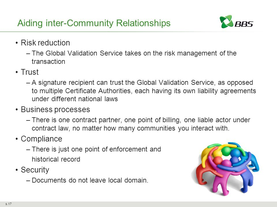 Aiding inter-Community Relationships Risk reduction –The Global Validation Service takes on the risk management of the transaction Trust –A signature recipient can trust the Global Validation Service, as opposed to multiple Certificate Authorities, each having its own liability agreements under different national laws Business processes –There is one contract partner, one point of billing, one liable actor under contract law, no matter how many communities you interact with.