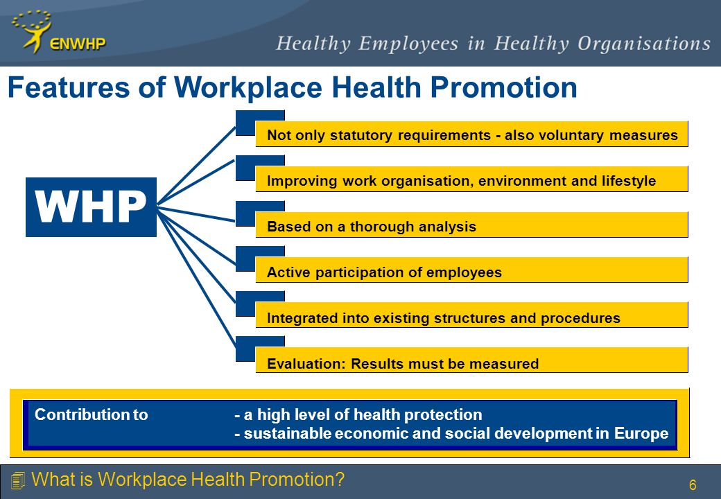 6 Features of Workplace Health Promotion Not only statutory requirements - also voluntary measures Improving work organisation, environment and lifestyle Based on a thorough analysis Active participation of employees Integrated into existing structures and procedures Evaluation: Results must be measured WHP Contribution to - a high level of health protection - sustainable economic and social development in Europe 4 What is Workplace Health Promotion