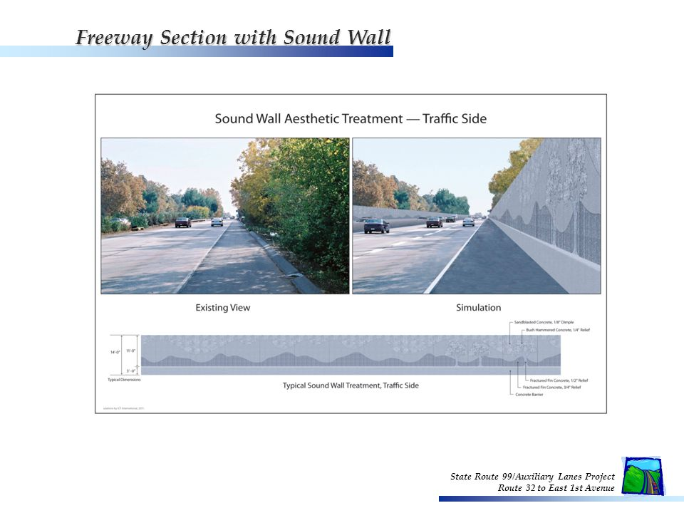 State Route 99/Auxiliary Lanes Project Route 32 to East 1st Avenue Freeway Section with Sound Wall - Resident Side Freeway Section with Sound Wall - Resident Side