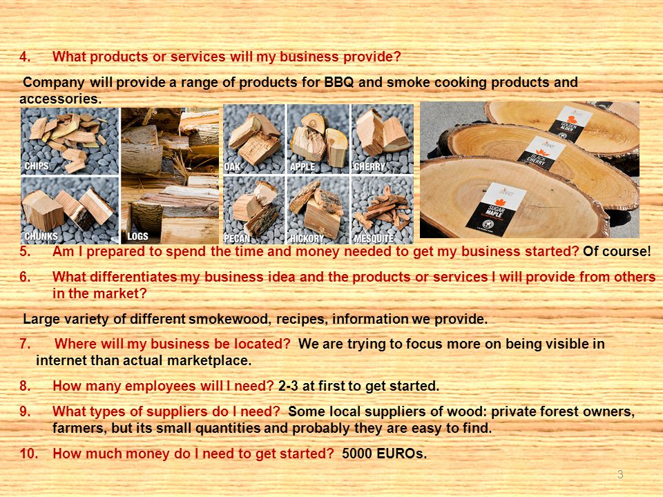 3 4.What products or services will my business provide? Company will provide a range of products for BBQ and smoke cooking products and accessories. 5