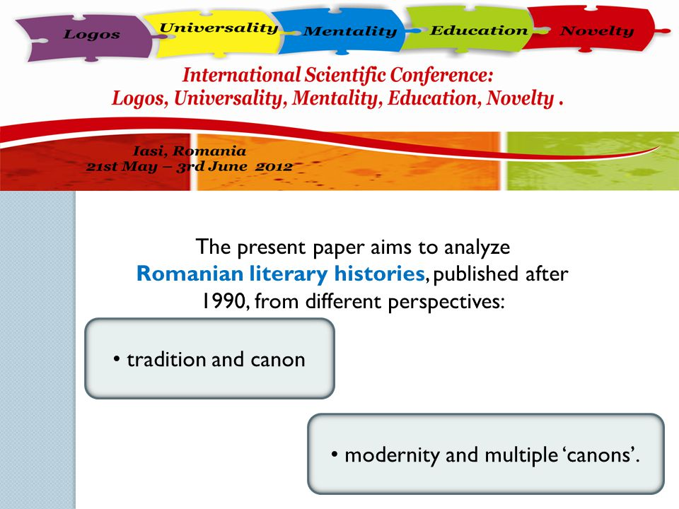 The present paper aims to analyze Romanian literary histories, published after 1990, from different perspectives: tradition and canon modernity and mu