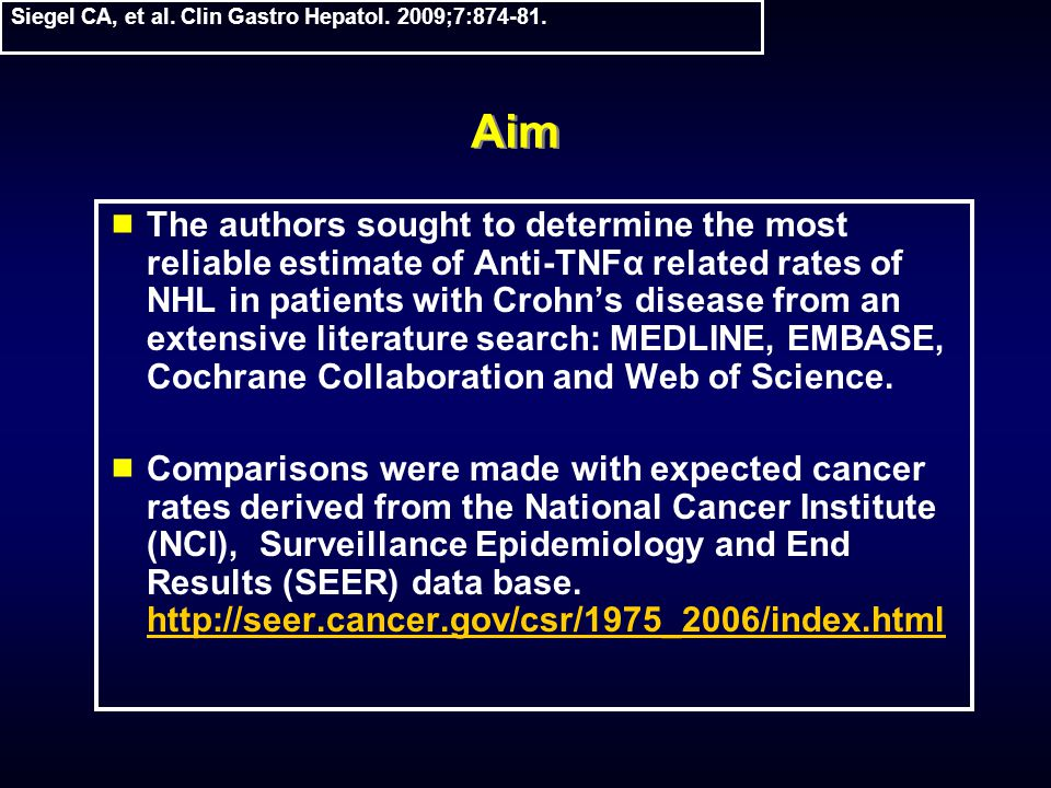 Aim  The authors sought to determine the most reliable estimate of Anti-TNFα related rates of NHL in patients with Crohn's disease from an extensive