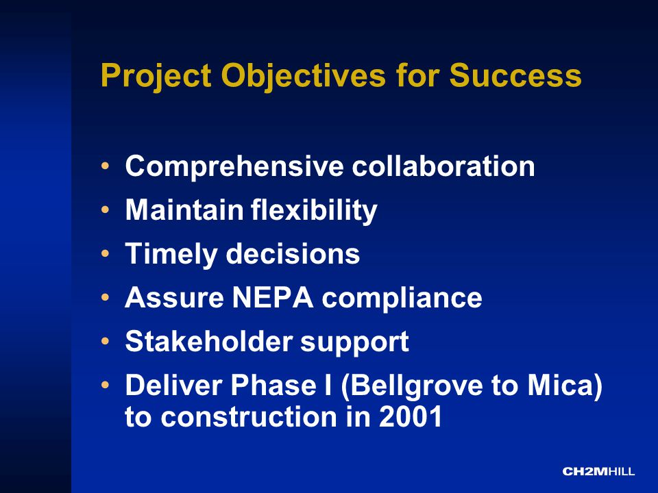 Project Objectives for Success Comprehensive collaboration Maintain flexibility Timely decisions Assure NEPA compliance Stakeholder support Deliver Phase I (Bellgrove to Mica) to construction in 2001