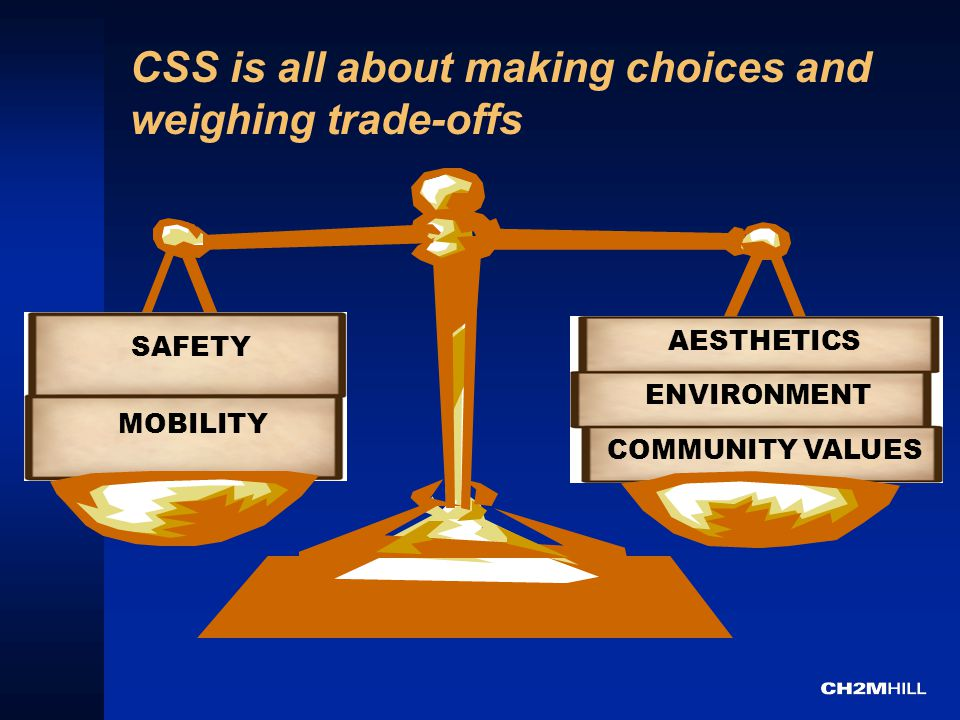 CSS is all about making choices and weighing trade-offs MOBILITY SAFETY ENVIRONMENT COMMUNITY VALUES AESTHETICS