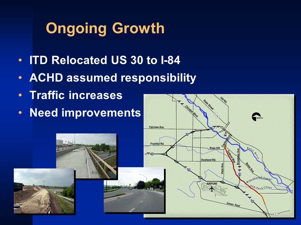 Ongoing Growth ITD Relocated US 30 to I-84 ACHD assumed responsibility Traffic increases Need improvements