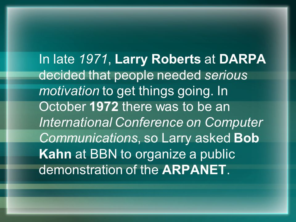 1958 Advanced Research Projects Agency (ARPA) created by Department of Defense (DoD).