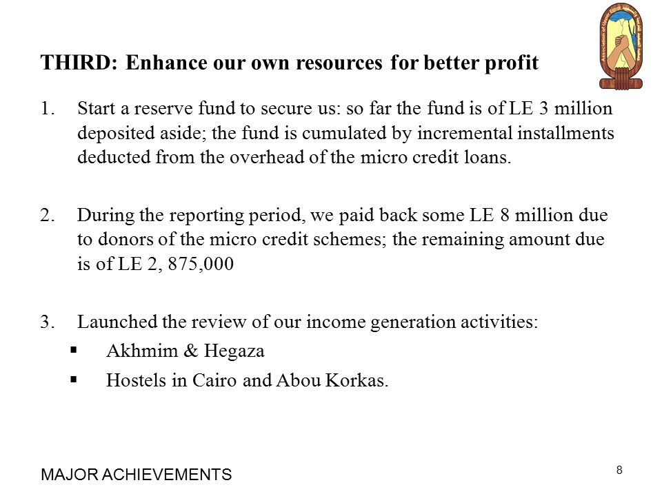 THIRD: Enhance our own resources for better profit 1.Start a reserve fund to secure us: so far the fund is of LE 3 million deposited aside; the fund is cumulated by incremental installments deducted from the overhead of the micro credit loans.