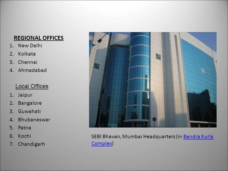 REGIONAL OFFICES 1.New Delhi 2.Kolkata 3.Chennai 4.Ahmadabad 1.Jaipur 2.Bangalore 3.Guwahati 4.Bhubaneswar 5.Patna 6.Kochi 7.Chandigarh 19 SEBI Bhavan, Mumbai Headquarters (in Bandra Kurla Complex)Bandra Kurla Complex Local Offices