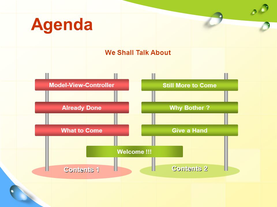 Agenda Model-View-Controller Already Done What to Come We Shall Talk About Still More to Come Why Bother .