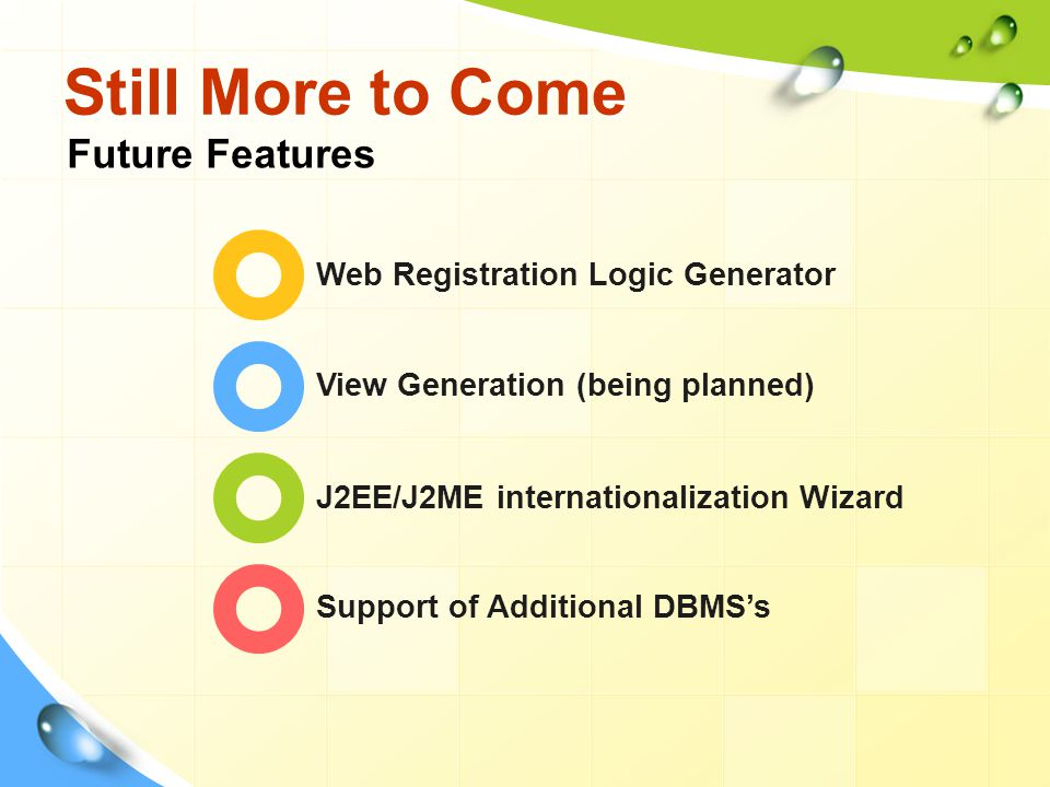 Still More to Come Web Registration Logic Generator View Generation (being planned) J2EE/J2ME internationalization Wizard Support of Additional DBMS's Future Features