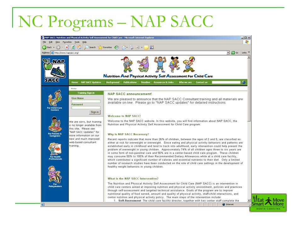 NC Programs – NAP SACC