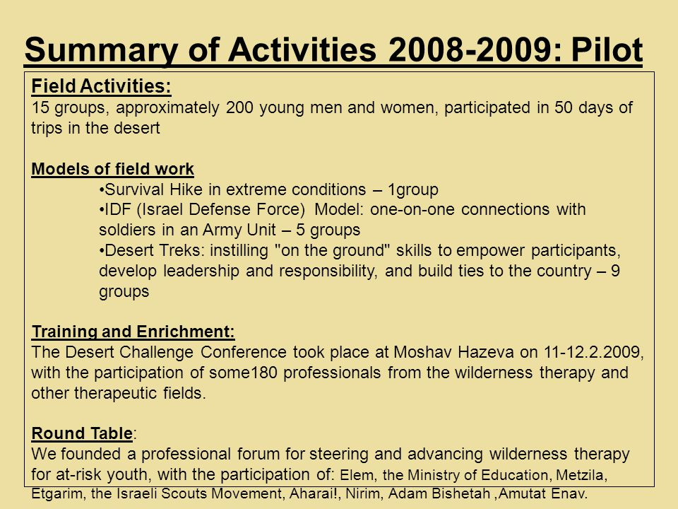 Summary of Activities 2008-2009: Pilot Field Activities: 15 groups, approximately 200 young men and women, participated in 50 days of trips in the desert Models of field work Survival Hike in extreme conditions – 1group IDF (Israel Defense Force) Model: one-on-one connections with soldiers in an Army Unit – 5 groups Desert Treks: instilling on the ground skills to empower participants, develop leadership and responsibility, and build ties to the country – 9 groups Training and Enrichment: The Desert Challenge Conference took place at Moshav Hazeva on 11-12.2.2009, with the participation of some180 professionals from the wilderness therapy and other therapeutic fields.