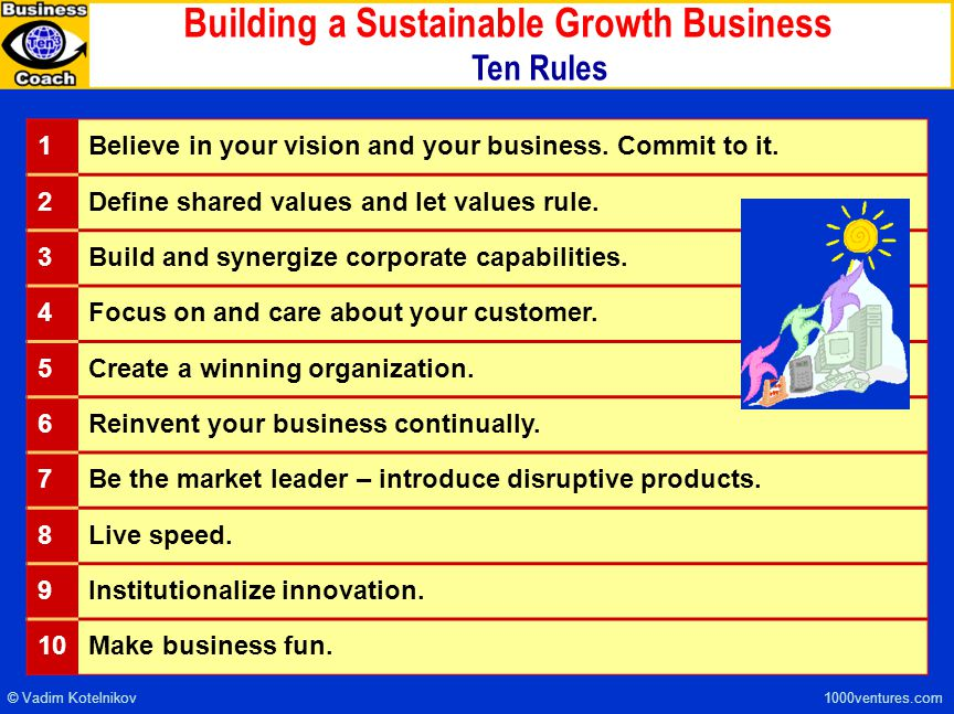 Building a Sustainable Growth Business Ten Rules 1Believe in your vision and your business.