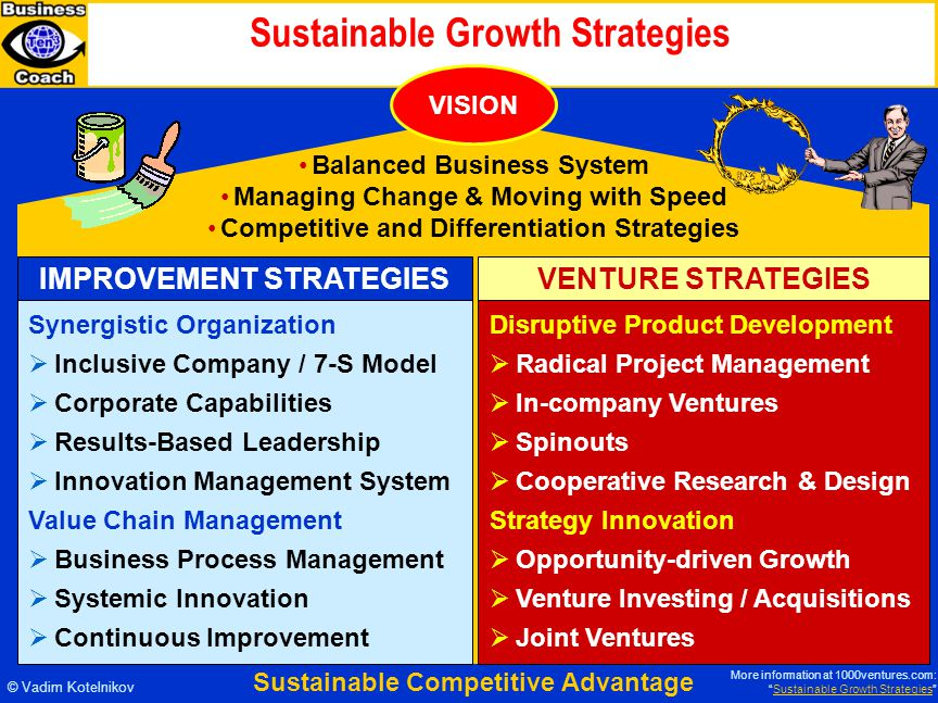 Sustainable Growth Strategies © Vadim Kotelnikov IMPROVEMENT STRATEGIES Synergistic Organization  Inclusive Company / 7-S Model  Corporate Capabilities  Results-Based Leadership  Innovation Management System Value Chain Management  Business Process Management  Systemic Innovation  Continuous Improvement VENTURE STRATEGIES Disruptive Product Development  Radical Project Management  In-company Ventures  Spinouts  Cooperative Research & Design Strategy Innovation  Opportunity-driven Growth  Venture Investing / Acquisitions  Joint Ventures Balanced Business System Managing Change & Moving with Speed Competitive and Differentiation Strategies VISION Sustainable Competitive Advantage More information at 1000ventures.com: Sustainable Growth Strategies Sustainable Growth Strategies
