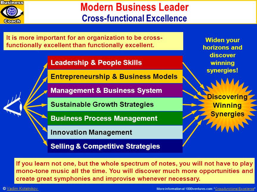 Modern Business Leader Cross-functional Excellence Leadership & People Skills Entrepreneurship & Business Models Management & Business System Sustainable Growth Strategies Business Process Management Innovation Management Selling & Competitive Strategies Discovering Winning Synergies It is more important for an organization to be cross- functionally excellent than functionally excellent.