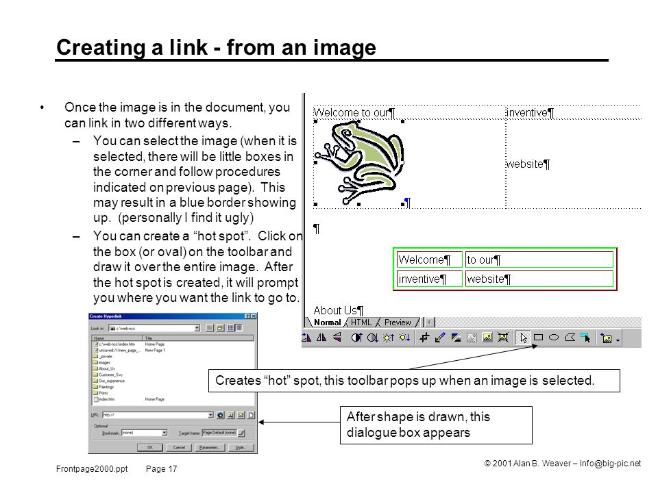 Frontpage2000.ppt Page 17 © 2001 Alan B.
