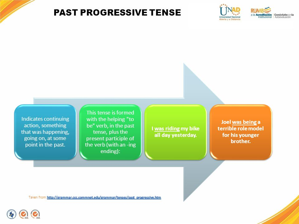 PAST PROGRESSIVE TENSE Indicates continuing action, something that was happening, going on, at some point in the past. This tense is formed with the h
