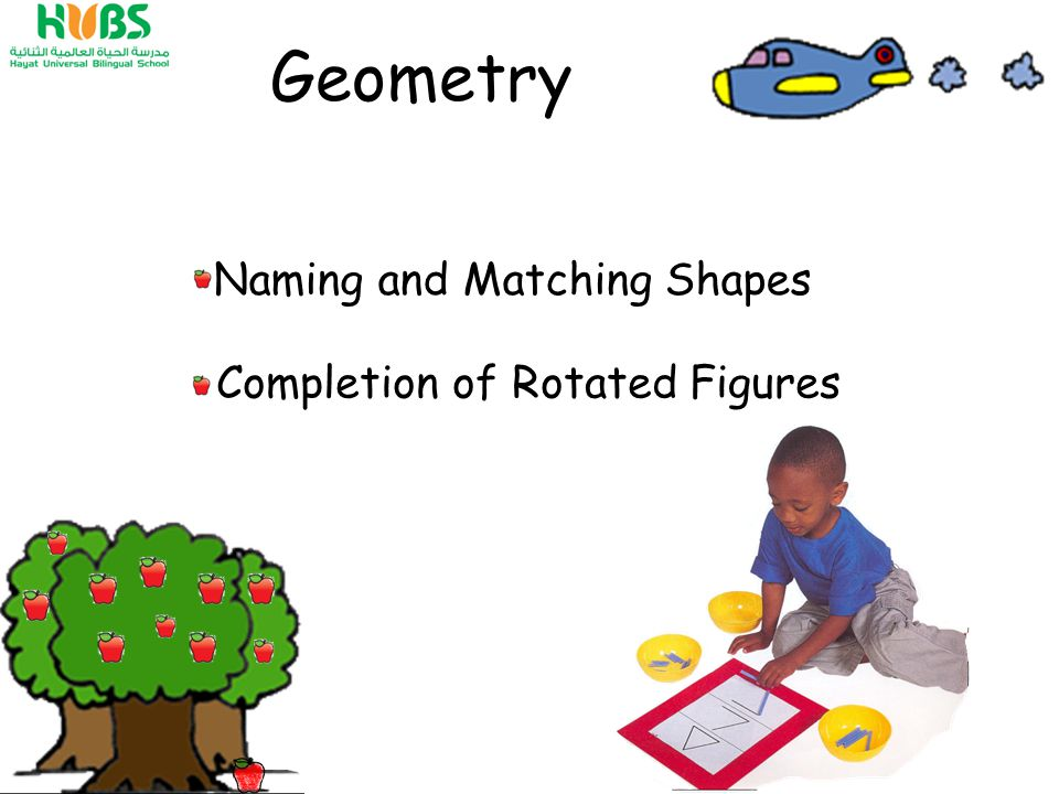 Geometry Naming and Matching Shapes Completion of Rotated Figures