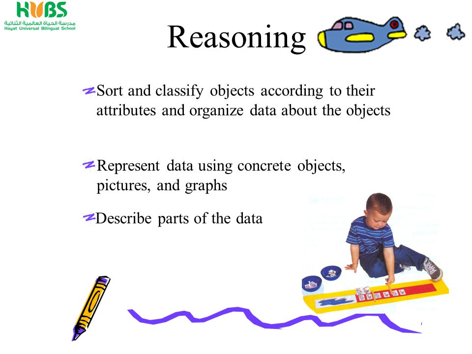 Reasoning Sort and classify objects according to their attributes and organize data about the objects Represent data using concrete objects, pictures, and graphs Describe parts of the data