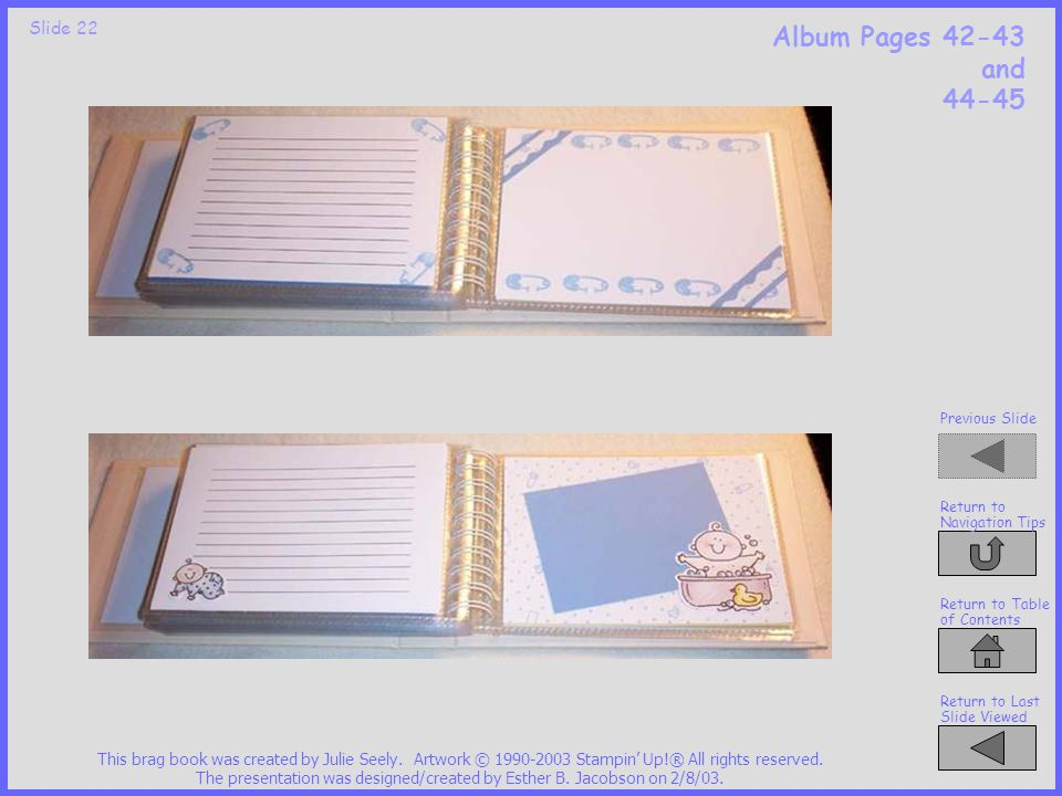 Slide 21 Album Pages 38-39 and 40-41 This brag book was created by Julie Seely.