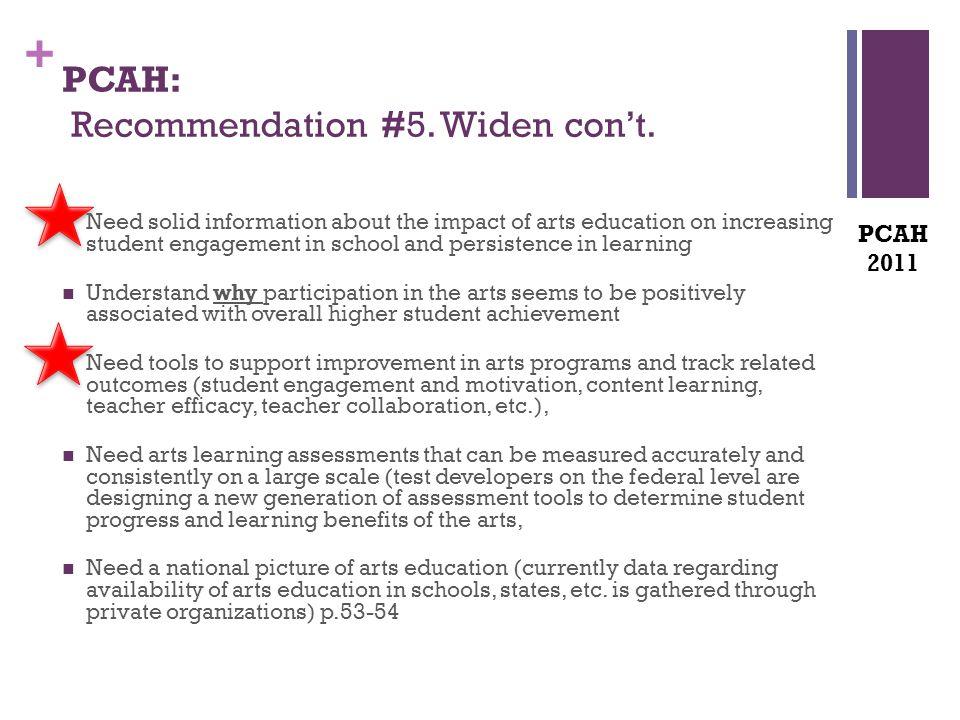+ PCAH: Recommendation #5. Widen con't.