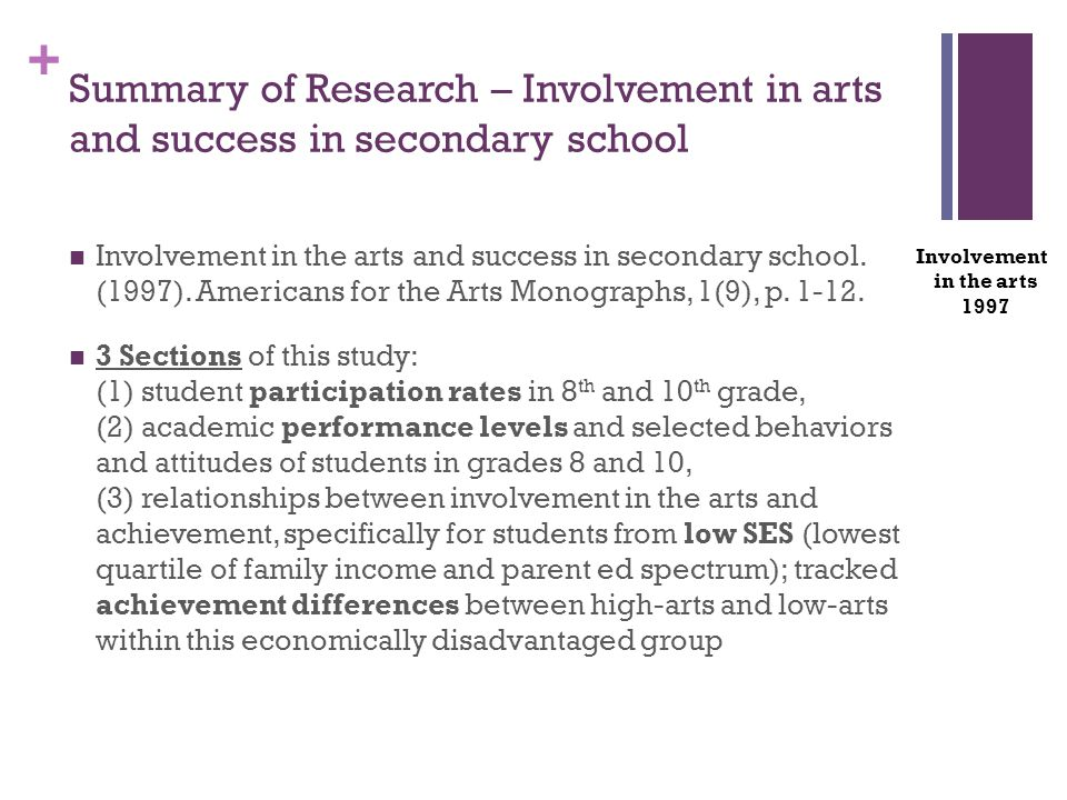 + Summary of Research – Involvement in arts and success in secondary school Involvement in the arts and success in secondary school. (1997). Americans