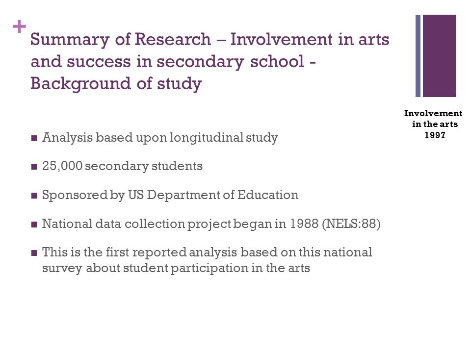 + Analysis based upon longitudinal study 25,000 secondary students Sponsored by US Department of Education National data collection project began in 1