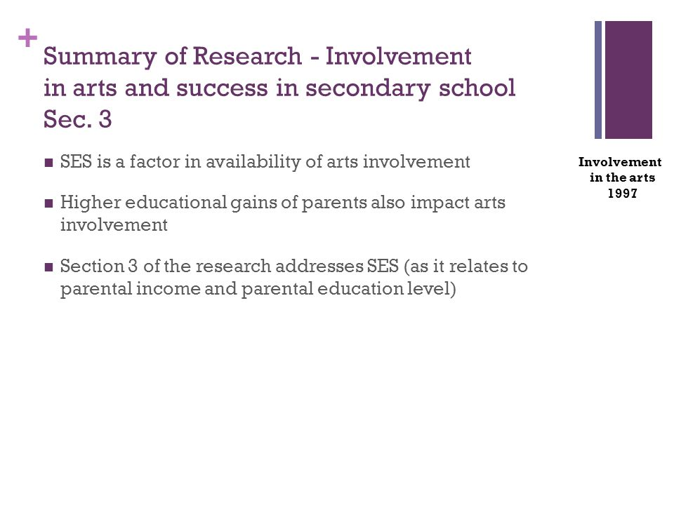 + SES is a factor in availability of arts involvement Higher educational gains of parents also impact arts involvement Section 3 of the research addresses SES (as it relates to parental income and parental education level) Involvement in the arts 1997 Summary of Research - Involvement in arts and success in secondary school Sec.