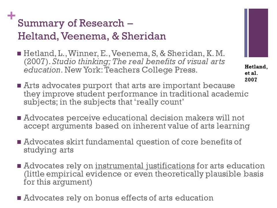 + Summary of Research – Heltand, Veenema, & Sheridan Hetland, L., Winner, E., Veenema, S, & Sheridan, K. M. (2007). Studio thinking; The real benefits