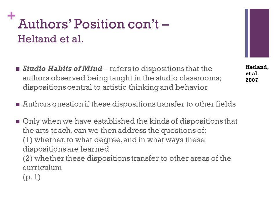 + Authors' Position con't – Heltand et al.