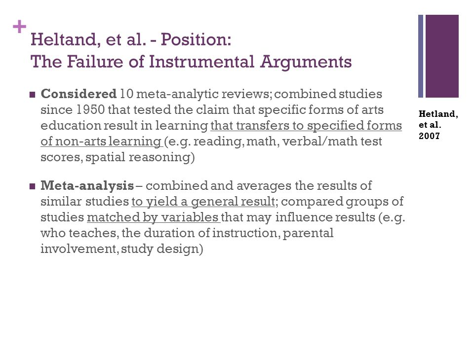 + Heltand, et al. - Position: The Failure of Instrumental Arguments Considered 10 meta-analytic reviews; combined studies since 1950 that tested the c