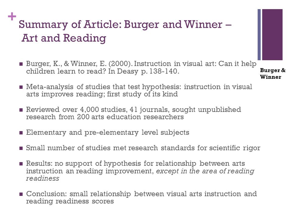 + Summary of Article: Burger and Winner – Art and Reading Burger, K., & Winner, E. (2000). Instruction in visual art: Can it help children learn to re