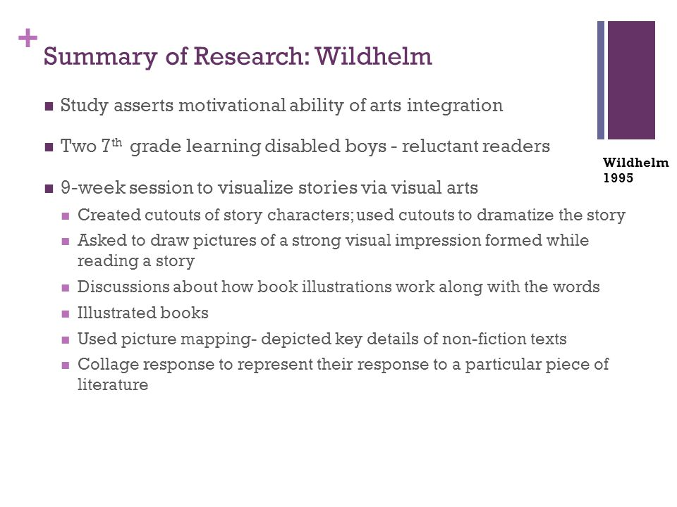 + Summary of Research: Wildhelm Study asserts motivational ability of arts integration Two 7 th grade learning disabled boys - reluctant readers 9-week session to visualize stories via visual arts Created cutouts of story characters; used cutouts to dramatize the story Asked to draw pictures of a strong visual impression formed while reading a story Discussions about how book illustrations work along with the words Illustrated books Used picture mapping- depicted key details of non-fiction texts Collage response to represent their response to a particular piece of literature Wildhelm 1995