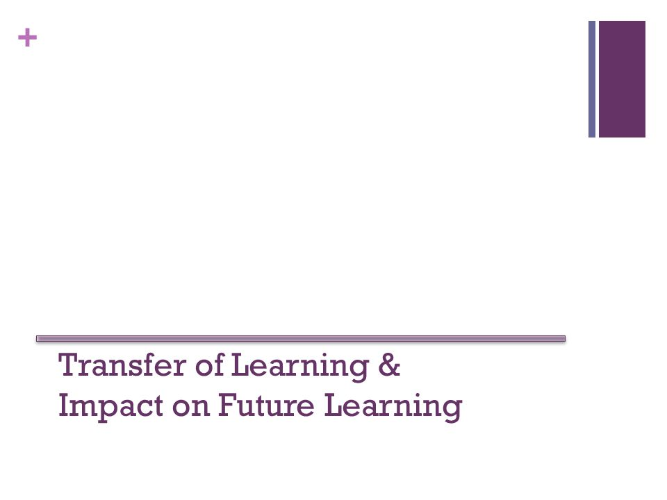 + Transfer of Learning & Impact on Future Learning