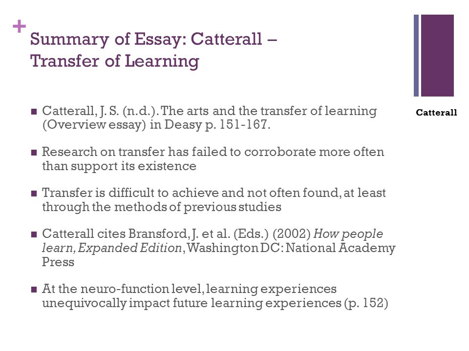 + Summary of Essay: Catterall – Transfer of Learning Catterall, J.